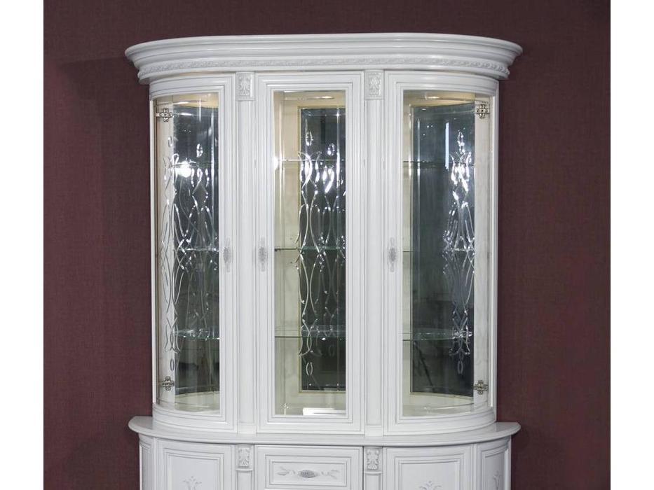 Юта: Милан: витрина 3 дверная  надстройка верхняя (белый)