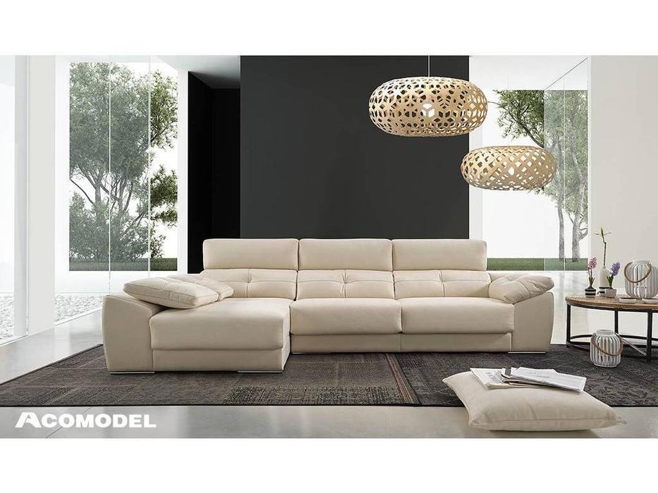 Acomodel: Atenza: диван угловой с шезлонгом ткань кат. Nova 2 (бежевый)