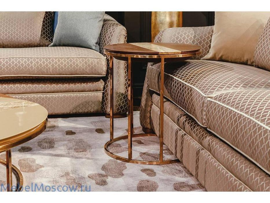 MHC: Giotto-A: стол кофейный (орех, мрамор, розовое золото)