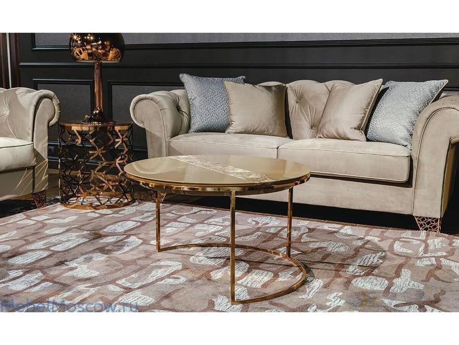 MHC: Giotto-B: стол журнальный (лак, мрамор, розовое золото)