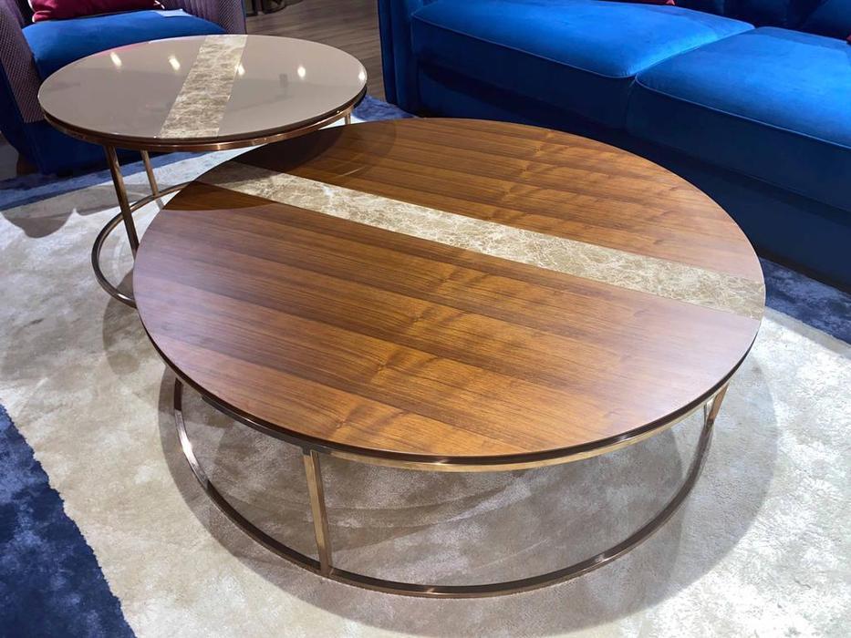 MHC: Giotto-C: стол журнальный (орех, мрамор, розовое золото)