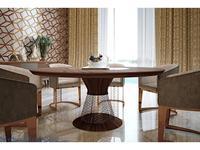 MHC: Otello-B: стол обеденный круглый (орех, мрамор Emperador, розовое золото)