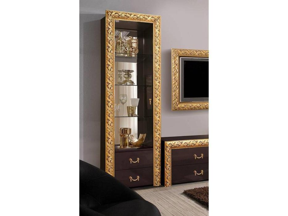 ЯМ: Тиффани Премиум: витрина 1 дверная  с ящ. (черный, золото)