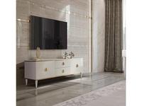 ЯМ: Римини Соло: тумба под телевизор  с ящиками (слоновая кость, золото)