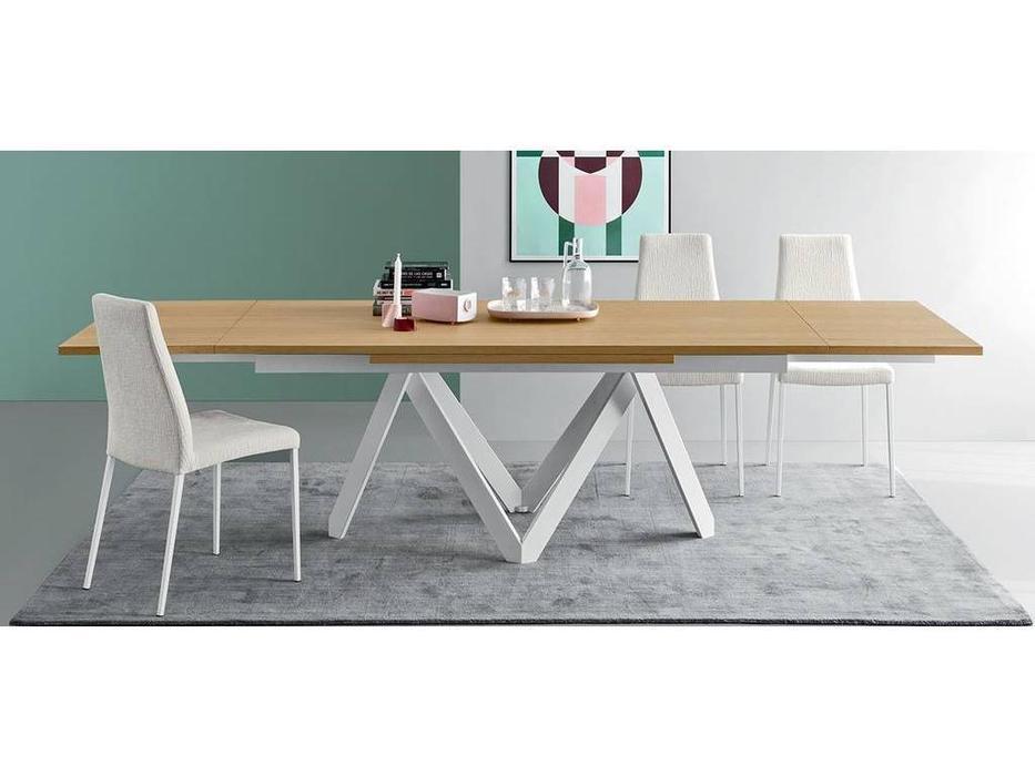 Calligaris: Cartesio: стол обеденный  раскладной (дуб, белый)