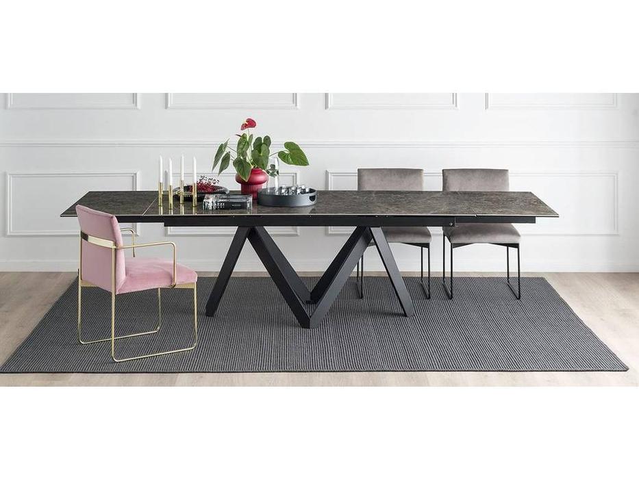 Calligaris: Cartesio: стол обеденный  раскладной (цемент, черный)