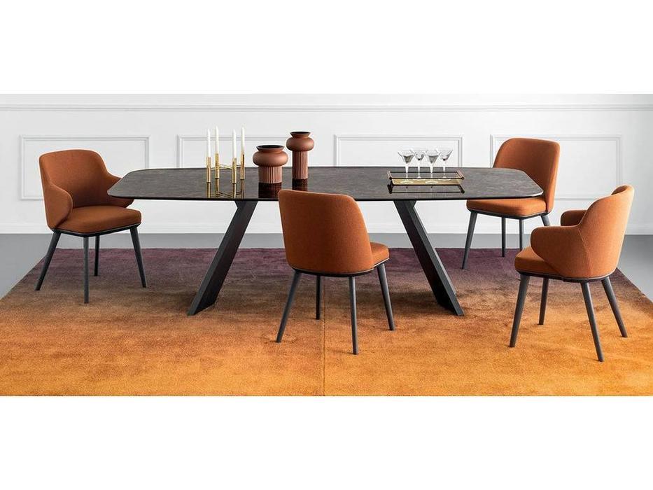 Calligaris: Icaro: стол обеденный  (черный мрамор, черный)