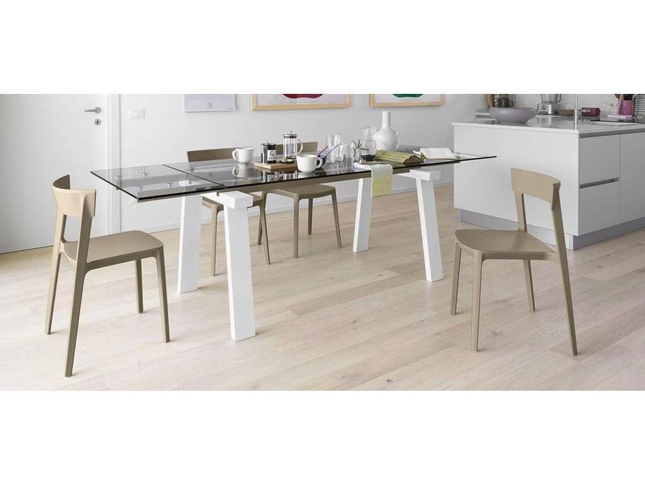 Calligaris: Levante: стол обеденный  раскладной (белый, беж, стекло)