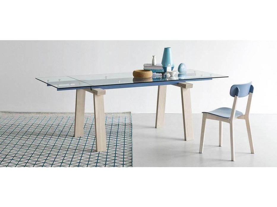 Calligaris: Levante: стол обеденный  раскладной (белый, синий, стекло)