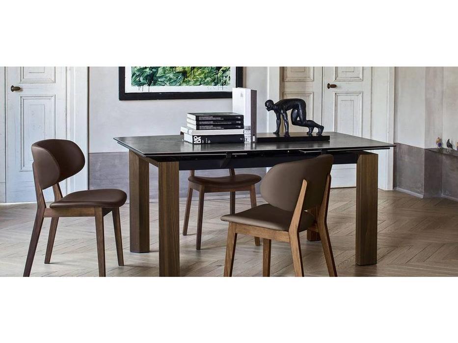 Calligaris: Moving: стол обеденный  раскладной (черный, стекло)