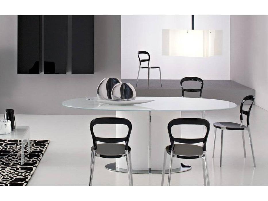 Calligaris: Odyssey: стол обеденный  раскладной (стекло черный, орех)