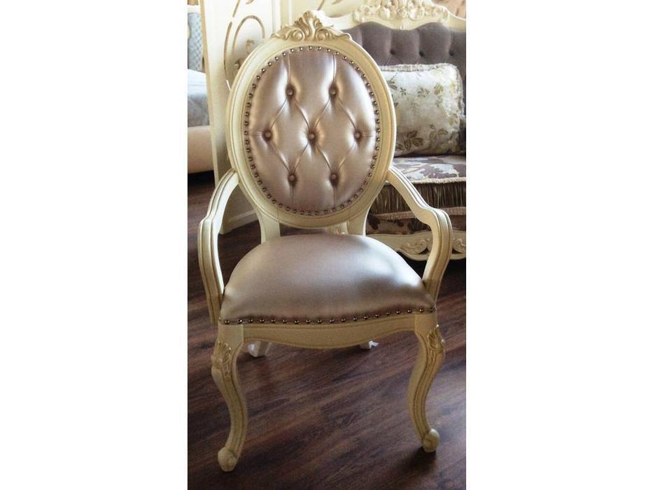 HFI: Милано: кресло  (слоновая кость, бежевая экокожа)