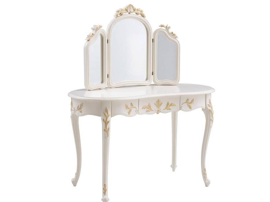 HFI: Shantal: стол туалетный  с зеркалом (белый, золото)