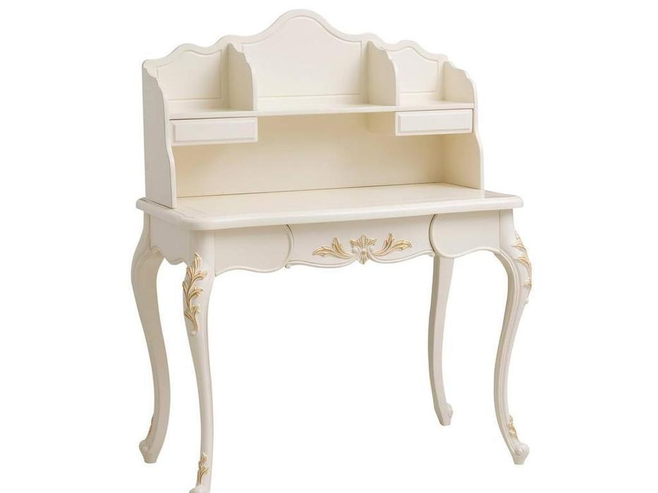 HFI: Shantal: стол письменный  с надставкой (белый, золото)