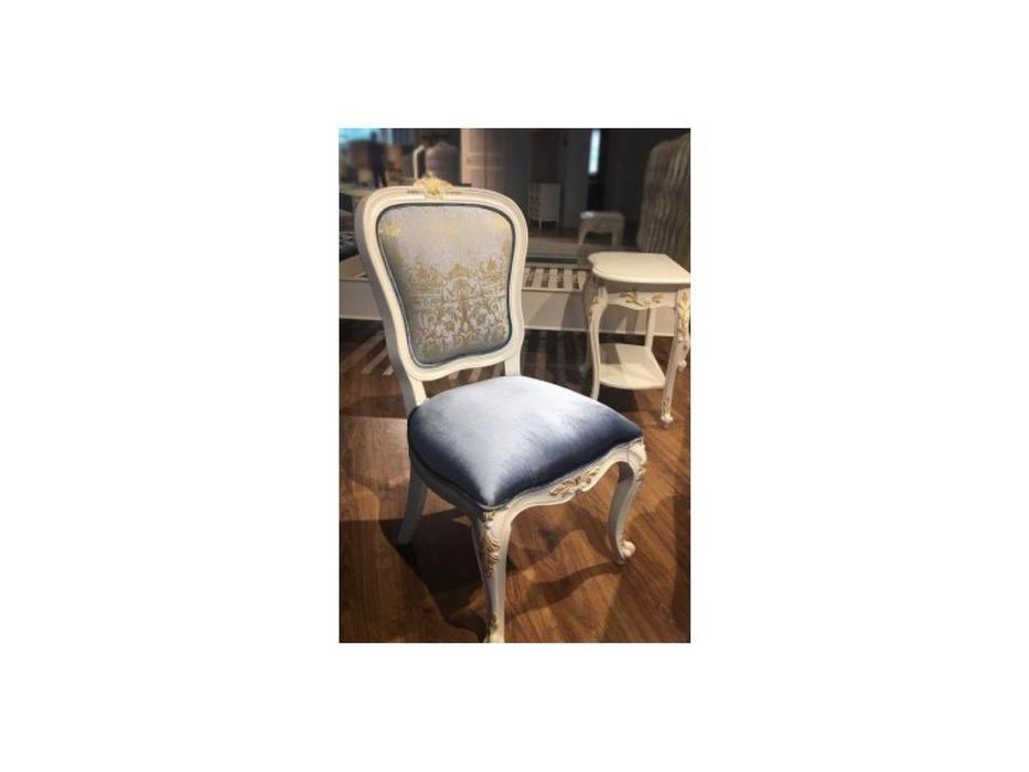 HFI: Shantal: стул  ткань голуб.с зол-м. синий (белый, золото)