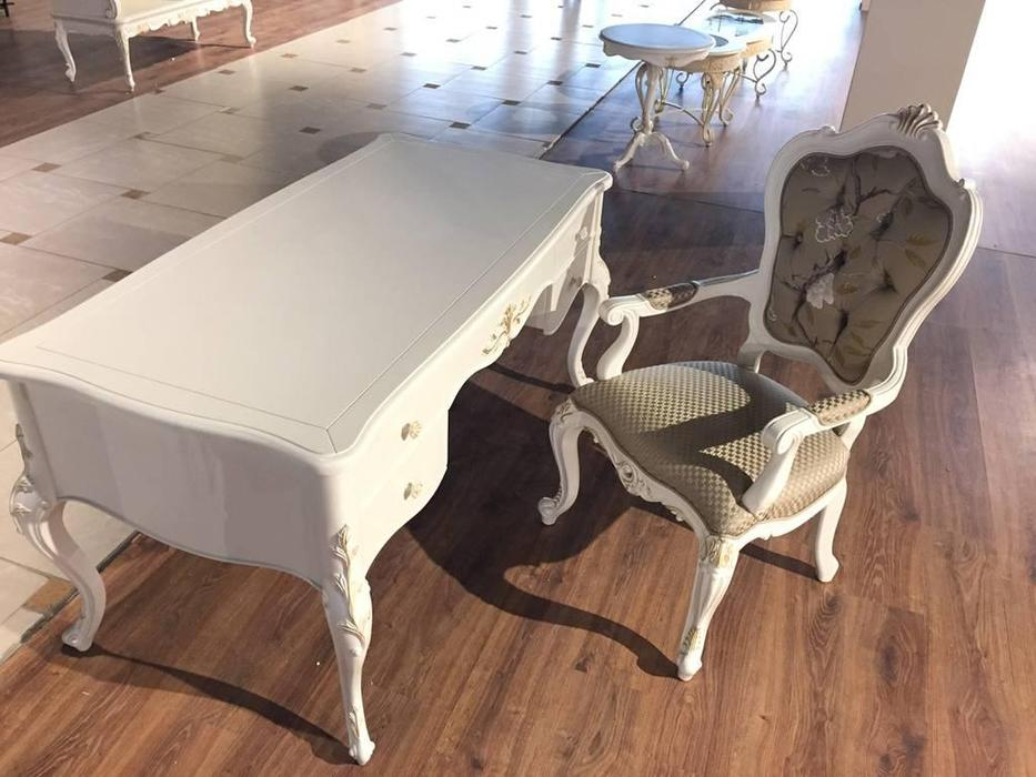 HFI: Shantal: стол письменный  (белый, золото)