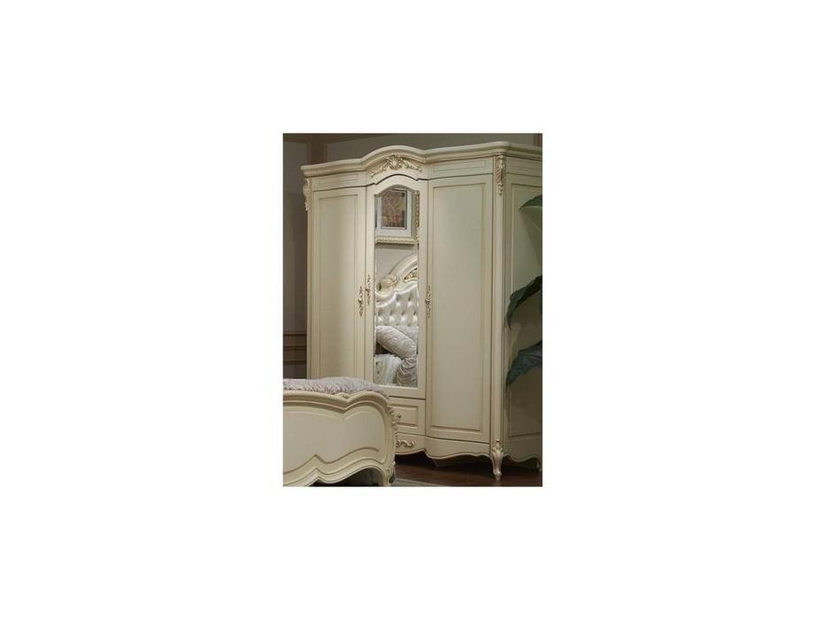 HFI: Милано: шкаф 3 дверный  с зеркалом (слоновая кость)