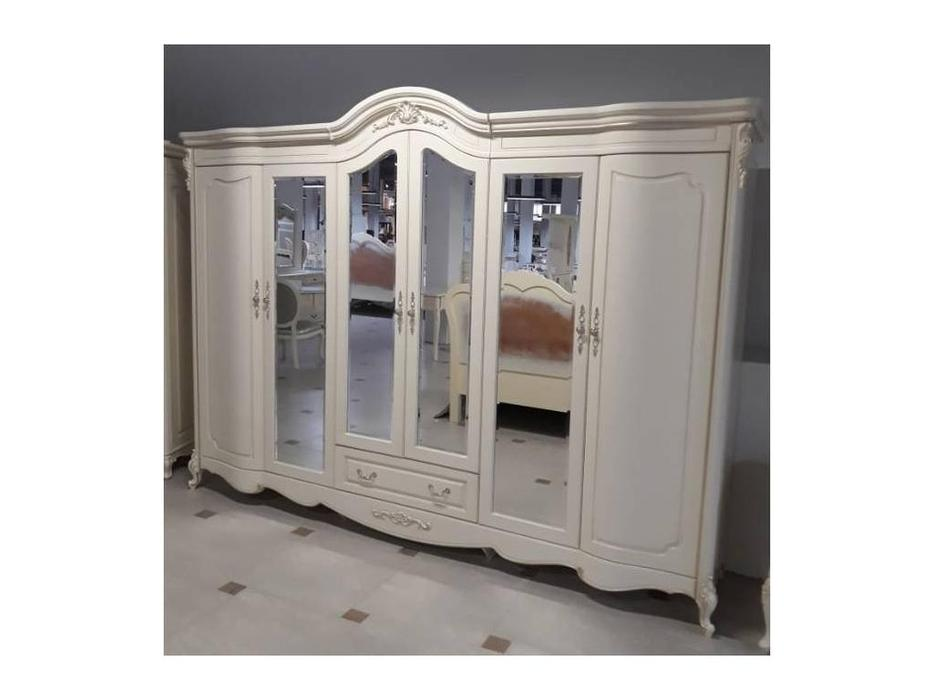 HFI: Милано: шкаф 6-ти дверный  с 4-мя зеркалами (слоновая кость)