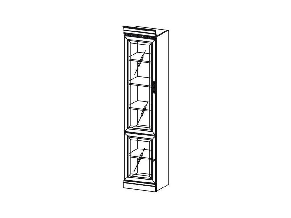 Taranko: Barcelona: шкаф книжный  узкий со стеклом (орех)