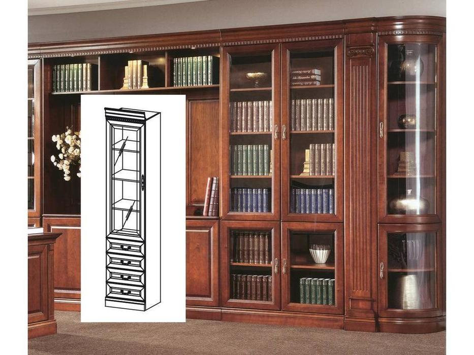 Taranko: Barcelona: шкаф книжный  узкий с ящиками (орех)
