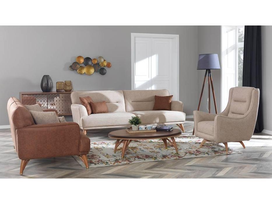 Rendi: Lal: диван 3 местный  (коричневый)