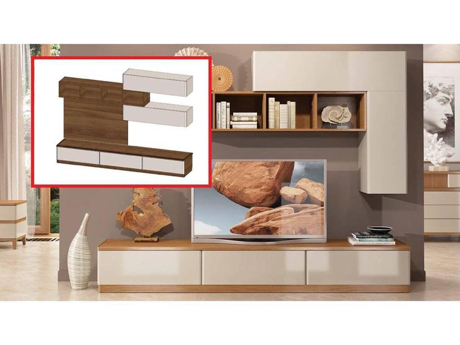ММ: Модена: стенка в гостиную композиция №4 (орех, мокко)