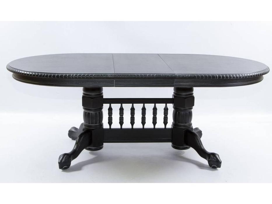 Florence: Hndt: стол обеденный  раскладной (античный черный, патина золото)