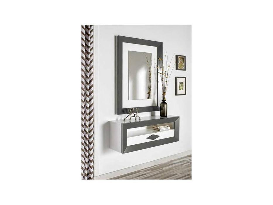 Disemobe: Moderno: консоль  навесная с зеркалом (темно серый, белый)