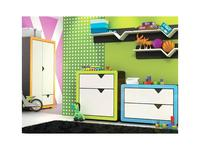Timoore: Frame: комод  1 дверь, 1 ящик (графит, зеленый)