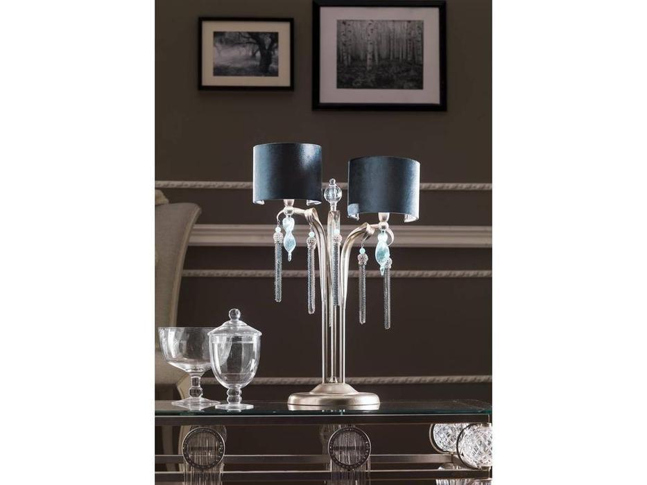 Euro Lamp Art: Guenda: лампа настольная  2 рожка (серебро)