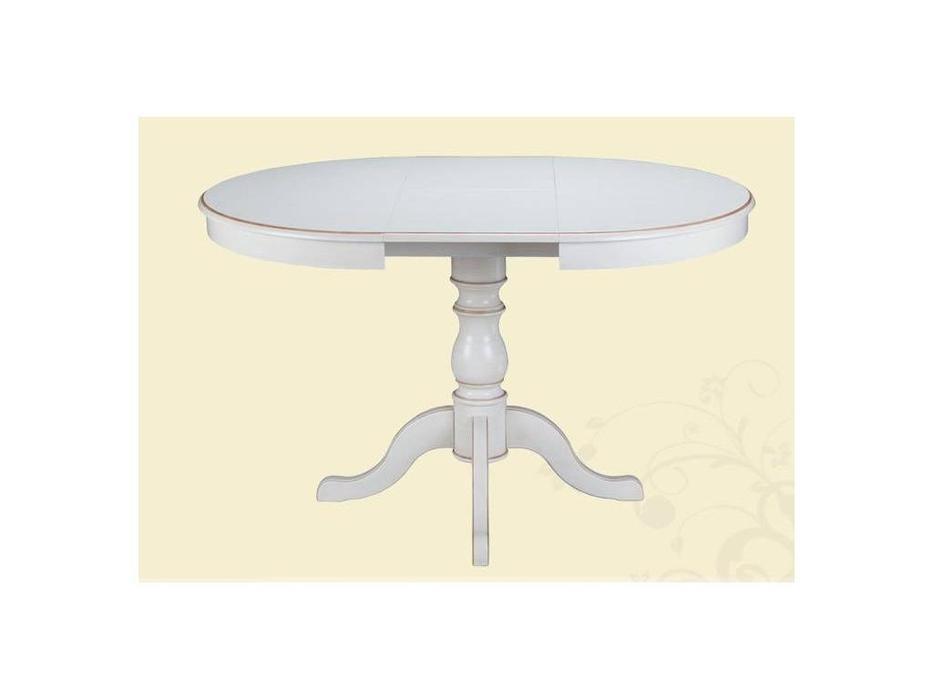 Лорес: Анабель: стол обеденный раскладной (белый антик, золото)