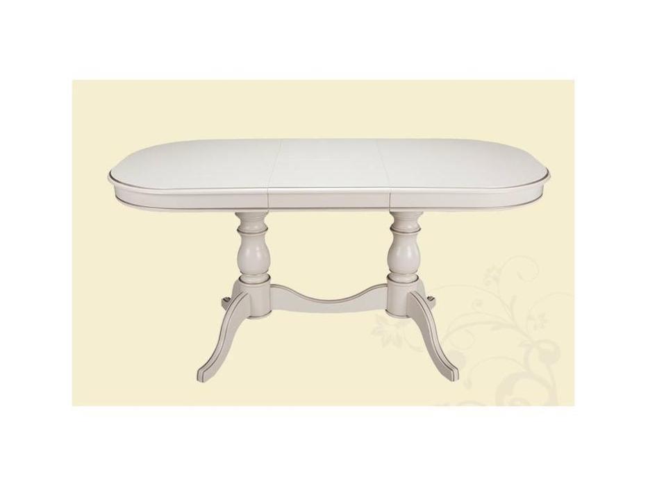 Лорес: Николь: стол обеденный раскладной (слоновая кость, золотая патина)