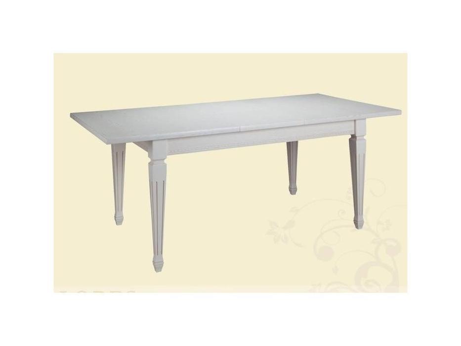 Лорес: Луиза 2: стол обеденный раскладной (белый с серой текстурой)