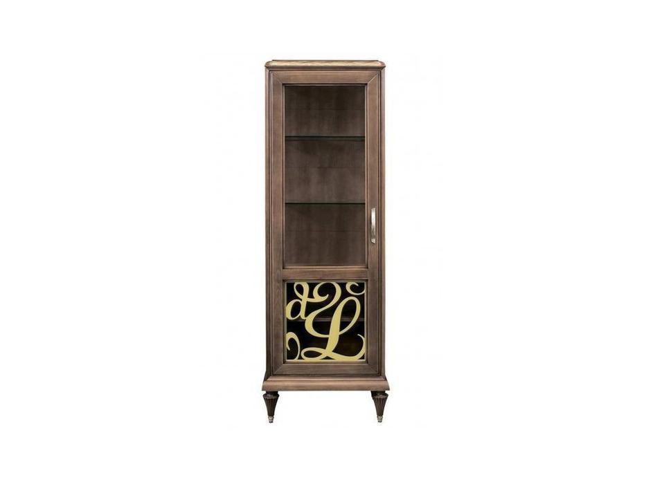 Лорес: Далорес: витрина 1 дверная левая с винтажной росписью (орех, патина)