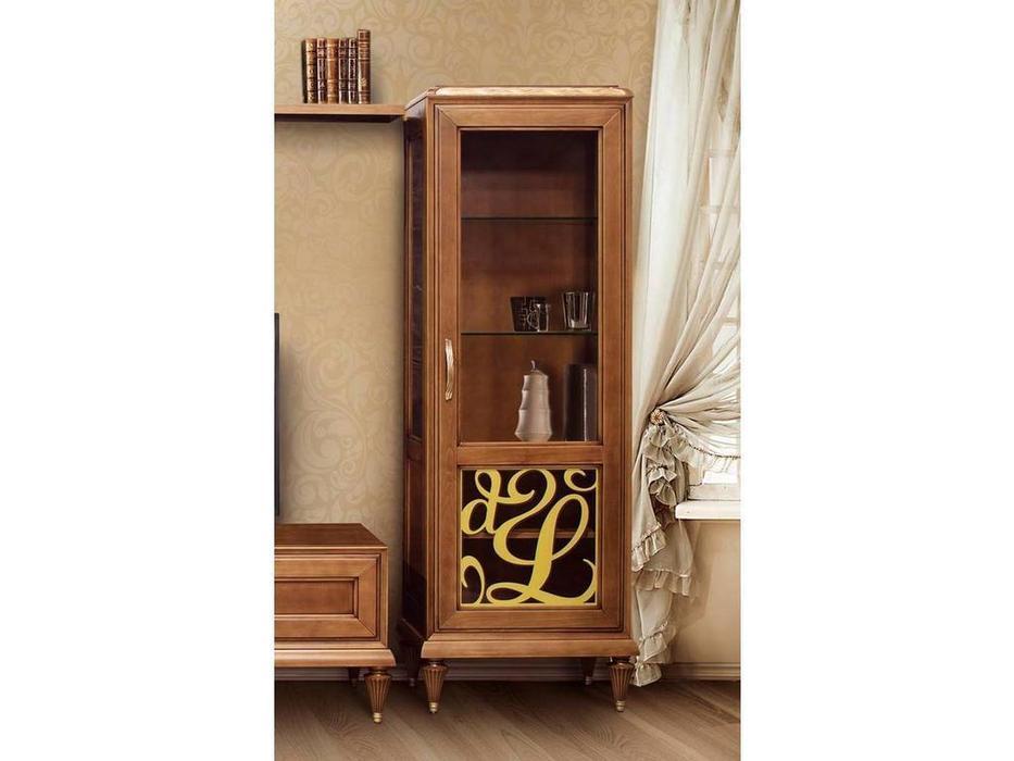 Лорес: Далорес: витрина 1 дверная правая с винтажной росписью (орех, патина)