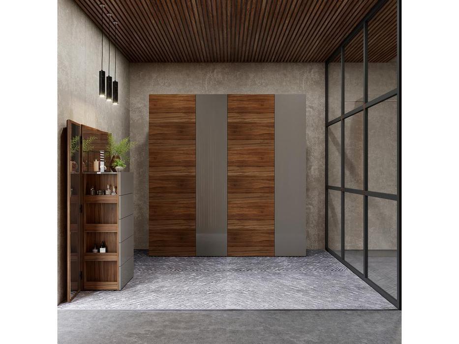 Mod Interiors: Avila: шкаф 4 дверный  (орех, серый)