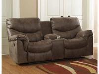 Ashley: Alzena: диван 2 местный  реклайнер с консолью (коричневый)