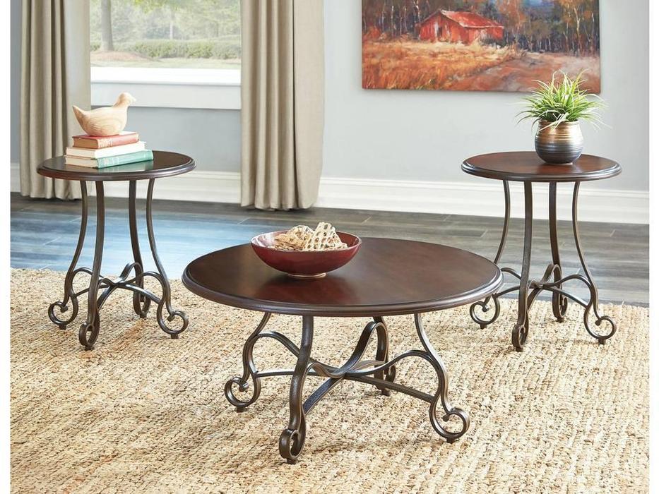 Ashley: Carshaw: столы журнальные  комплект (коричневый)
