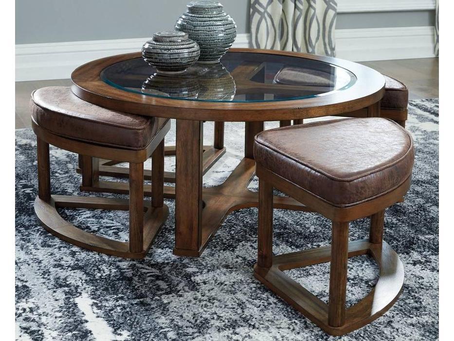 Ashley: Hannery: стол журнальный  и 4 табурета (коричневый)