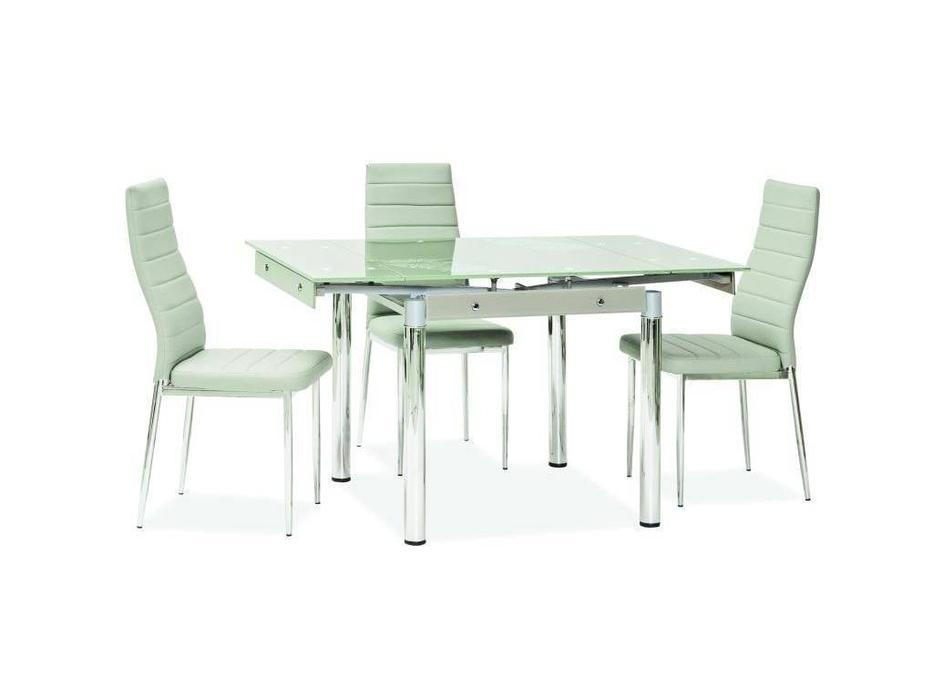 Signal: GD082: стол обеденный раскладной (стекло,белый)