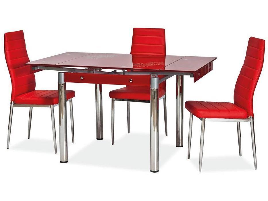 Signal: GD082: стол обеденный раскладной (стекло, красный)