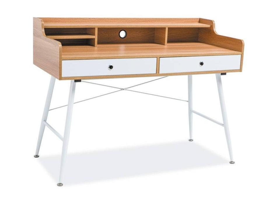Signal: стол компьютерный  (дуб, белый)