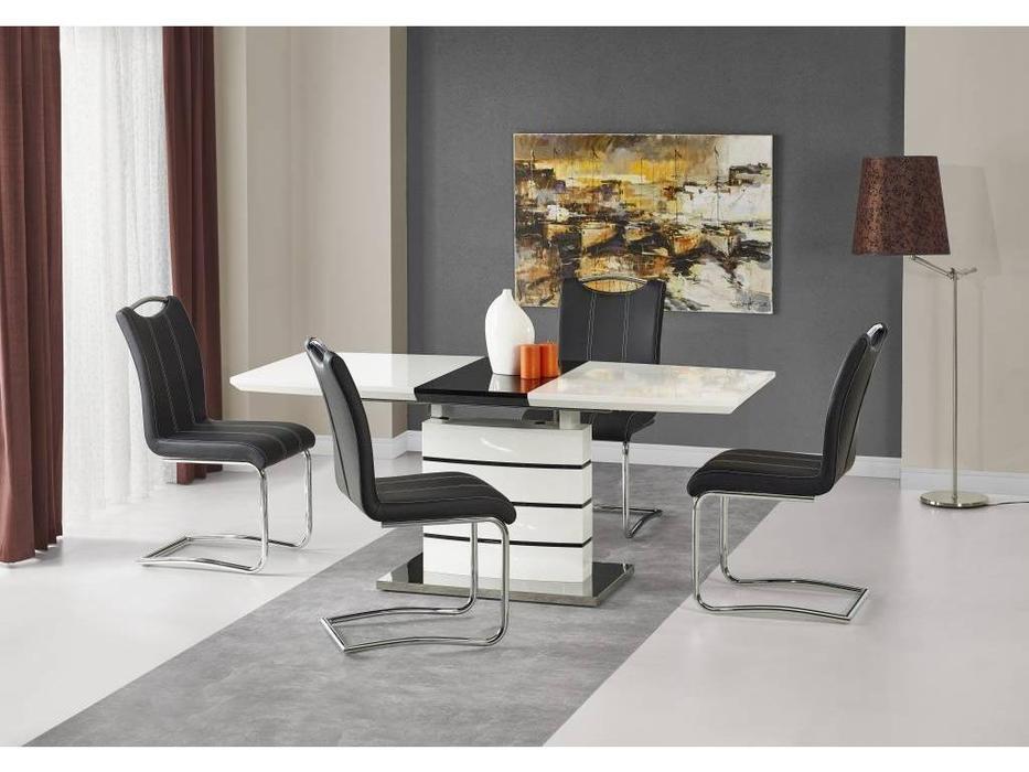 Halmar: Nord: стол обеденный раскладной (бело-черный)