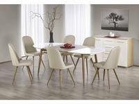 Halmar: Edward: стол обеденный раскладной (белый, дуб медовый)