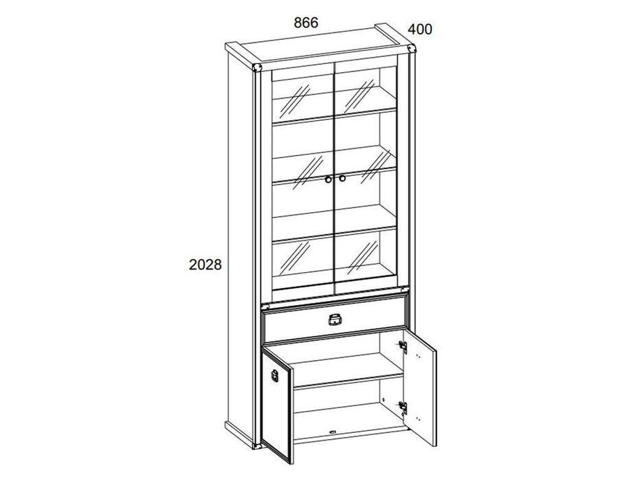 Anrex: Magellan: витрина 2 дверная  (сосна винтаж)