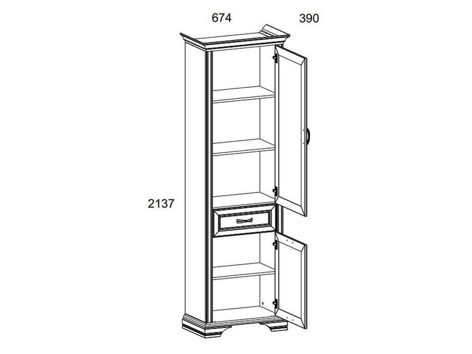 Anrex: Monako: шкаф книжный  узкий (сосна винтаж, дуб анкона)
