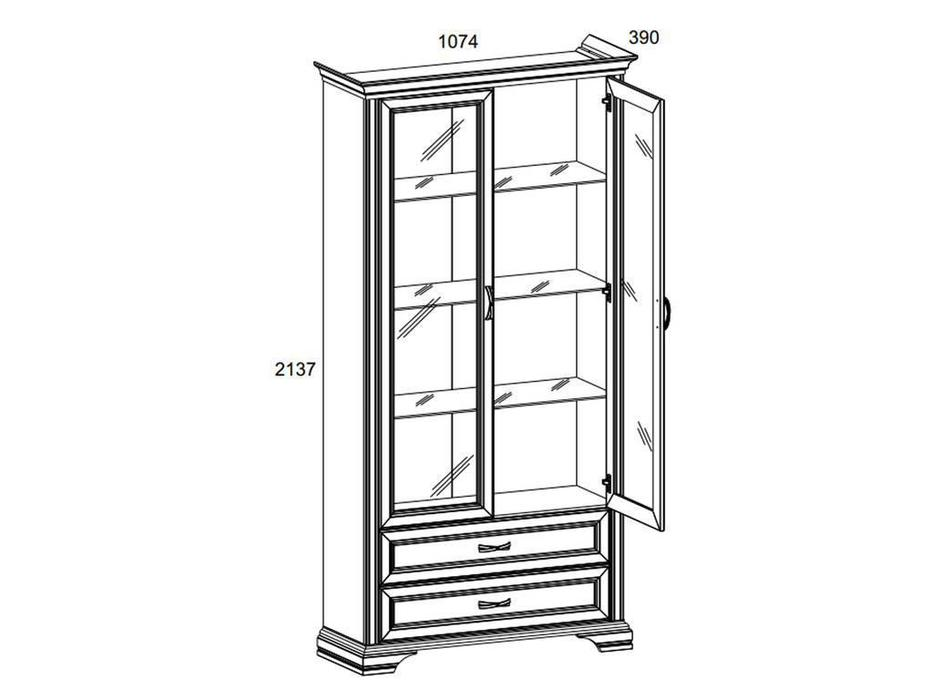 Anrex: Monako: витрина 2 дверная  (сосна винтаж, дуб анкона)