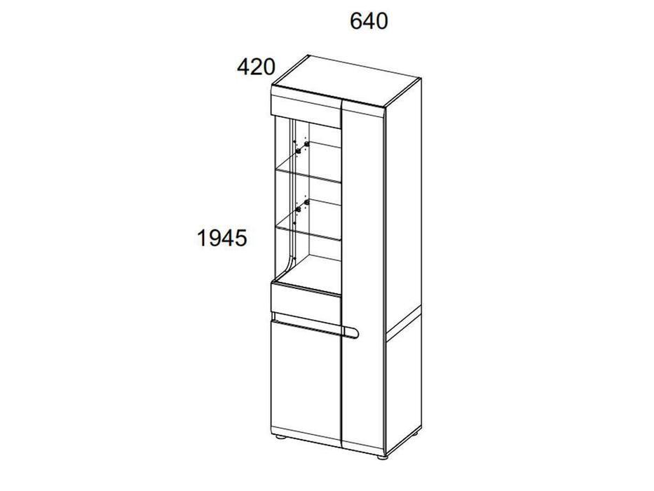 Anrex: Linate: витрина 2 дверная левая (белый, сонома трюфель)