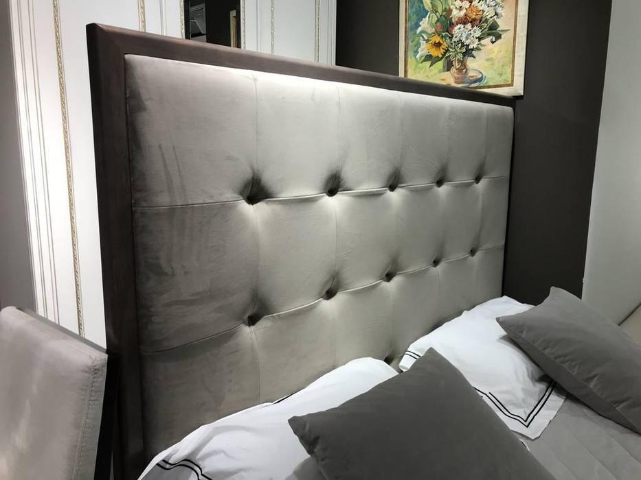 RFS: Монте-Карло: кровать 160х200 с мягким изголовьем (дуб медовый, серо коричневый)