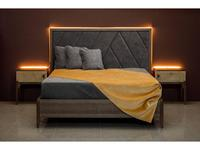 RFS: Барселона: кровать 160х200 с подсветкой (дуб медовый, серокоричневый)